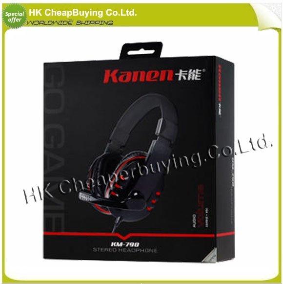 Free Shiping Kanen KM-790 Ergonomic Stereo Headset Headphone with Microphone Black + Red  #SKU077