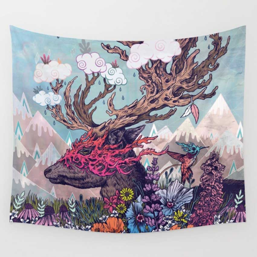 Image 4 - CAMMITEVER Astronaut Lions Deer Abstract Wall Tapestry Mandala Hippie Bohemian Tapestries Home Decor Dropship-in Tapestry from Home & Garden