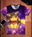 Céu estrelado PIKACHU Pokemon VAI a equipe Camisas de T 3D Camiseta homens Tshirt Camisetas Hombre Manga Curta yeezy Rua Skate Top L076