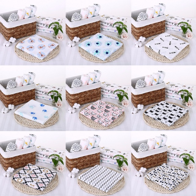 Puseky 110x110cm Newborn Baby Cotton Bat Man Plant Animal Soft Muslin Swaddle Shower Bath Towel Blanket Wrap Cloth Bedding Cover
