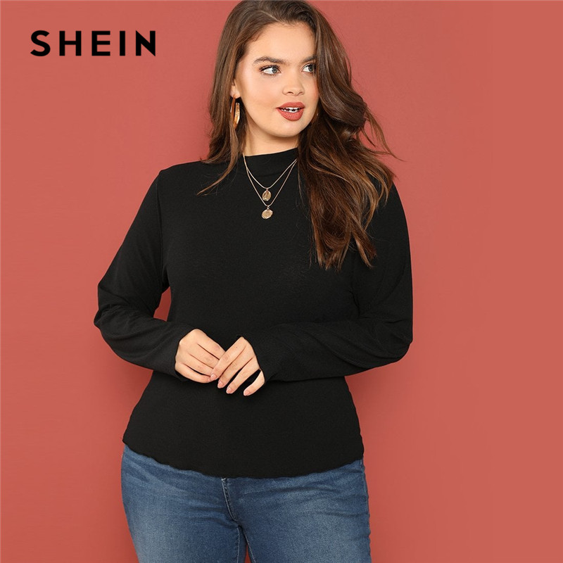 23e0ac43144 SHEIN Casual Plus Size Stand Collar Ribbed Knit Slim Fit Long Sleeve Tees  2018 Mock Neck