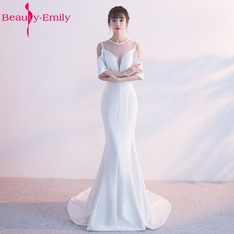 Beauty-Emily Sexy White Mermaid Party   Bridesmaid     Dresses   2017 O-Neck Off the Shoulder Long Wedding Formal Occasion   Dresses