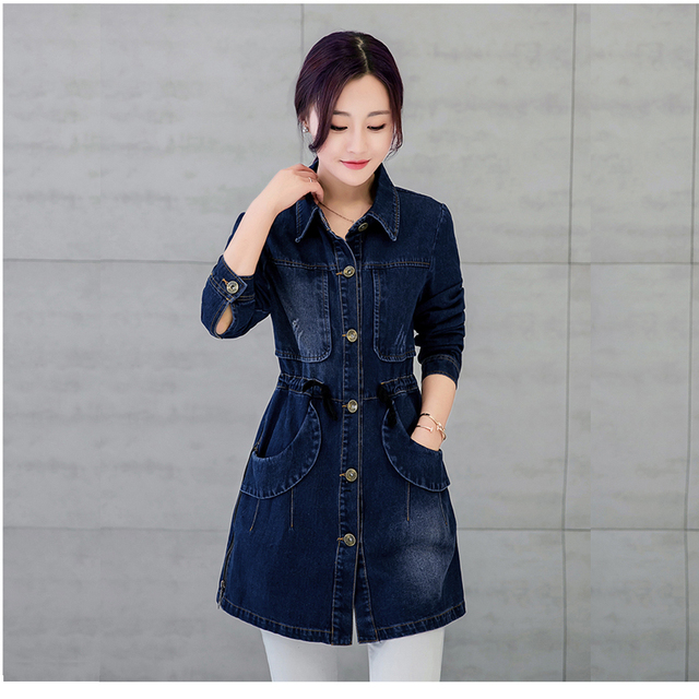 Women Denim Trench Coat blue Female Casual Slim Long letter Denim Overcoats Full Sleeve  trench coat for woman Single Breasted