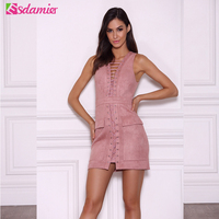 Sexy Lace Up Bodycon Dress Mini Robe Femme Pink Sleeveless Slim Party Dress Deep V Neck Night Club Party Dresses For Women