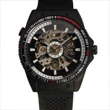 2016 Top Moda Ganador Mecánico Automático Relojes de Pulsera Militar Taquímetro Caso Skeleton Dial Rubber Band Sport Reloj de Los Hombres