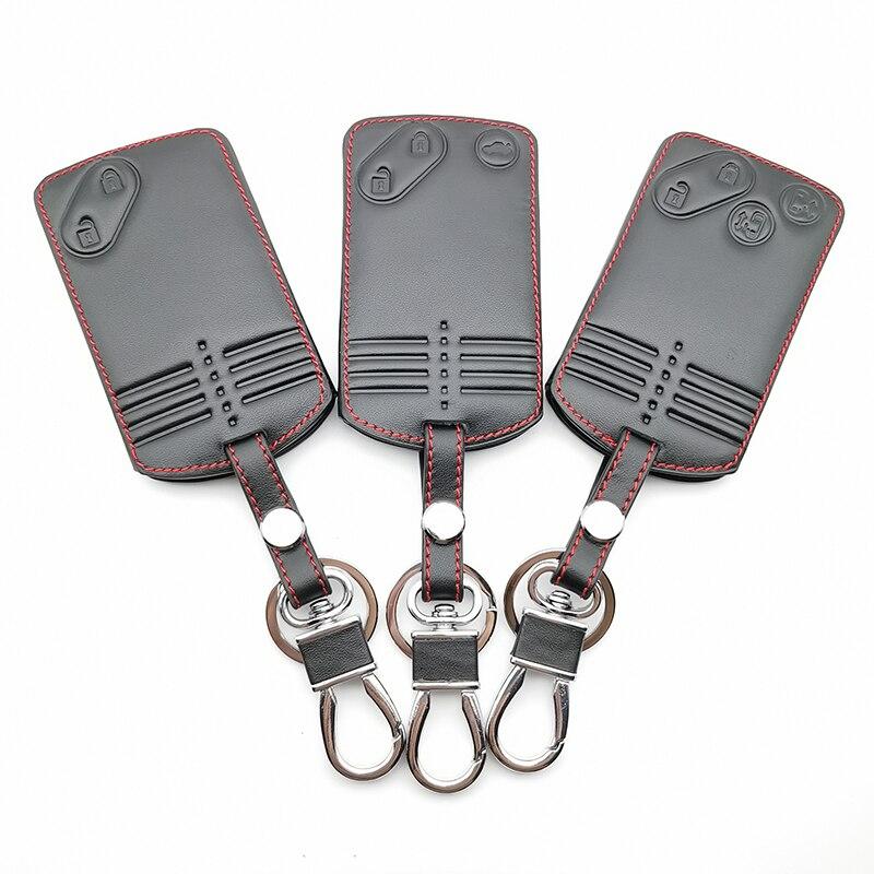 Card Key Leather Case Cover For Mazda 2 3 5 Premacy Miata 6 8 RX8 MX5 M8 CX-7 CX-9 Verisa MPV 2/3/4 Buttons Remote Protector Fob