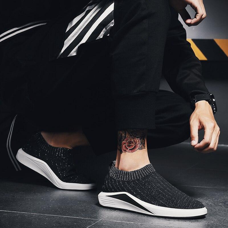 2018 летние Для мужчин кроссовки сетка носок кроссовки Бег Для мужчин s без шнуровки обувь спортивная обувь Высокое качество Прогулочные дыша...