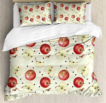 Apple Duvet Cover Set Seeds of Winter Fruits Groceries Homeopathic Ingredients with Ladybug Motifs Decorative 4pcs Bedding Set
