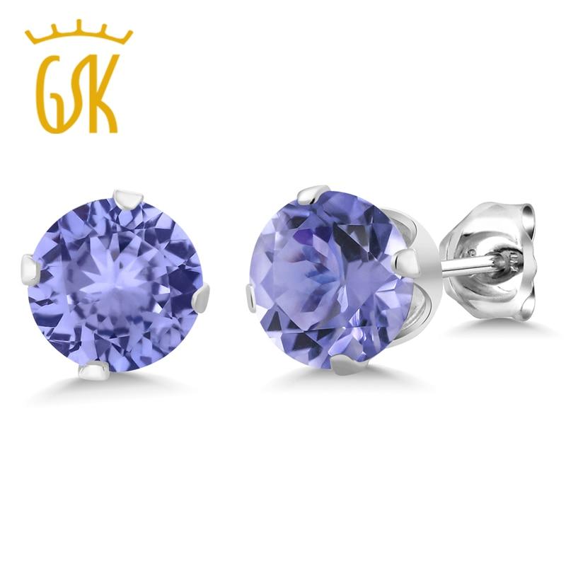 GemStoneKing 1.25 Ct 5mm Round Genuine Tanzanite Stud Earrings 925 Sterling Silver Jewelry Designer Brand For Women Wedding