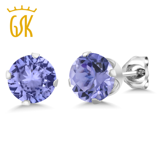 Gemstoneking 1 25 Ct 5mm Round Genuine Tanzanite Stud Earrings 925 Sterling Silver Jewelry Designer Brand For