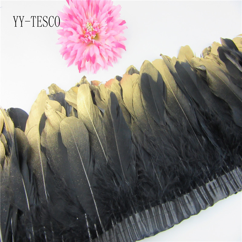 New Fashion Gold Tips Goose feather trims 2-10yards Black Dyed geese feather ribbons /15-20cm Duck feather fringes Free shipping