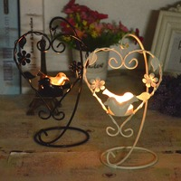 Heart Shape Candlesticks Vintage Candle Holder Birdcage Lantern Continental Iron Candle Holders Wedding Home Decor Candlestick