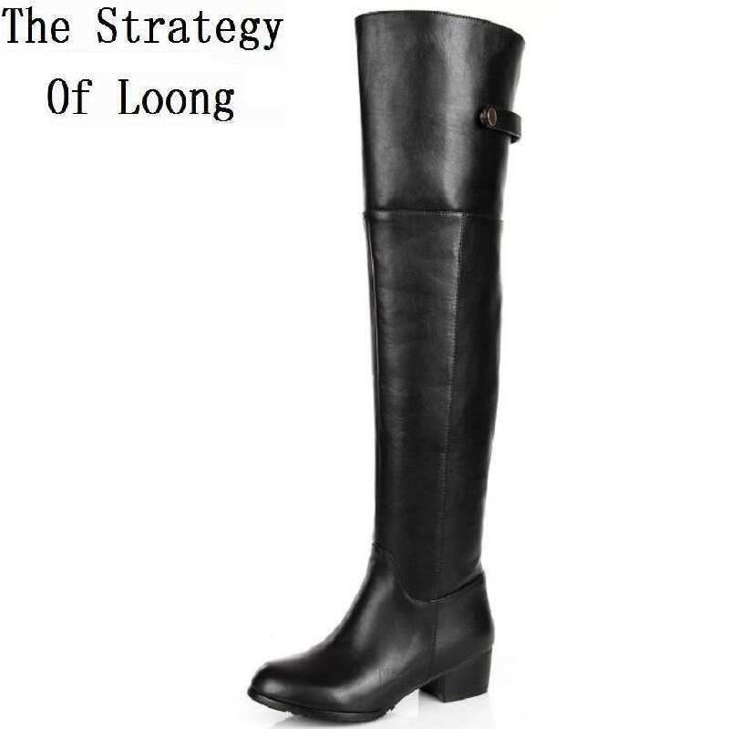 aliexpress com   buy genuine leather women winter long boots over the knee buckle low heel boots