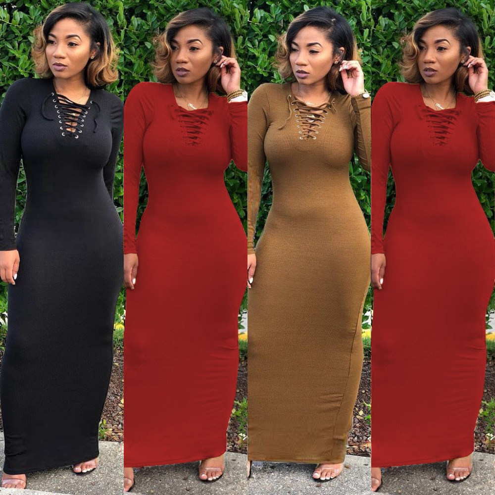 O Neck Full Sleeve Lace up Women Sheath Autumn Long Dresses Solid Casual Maxi  Dresses 9cef4426acc5