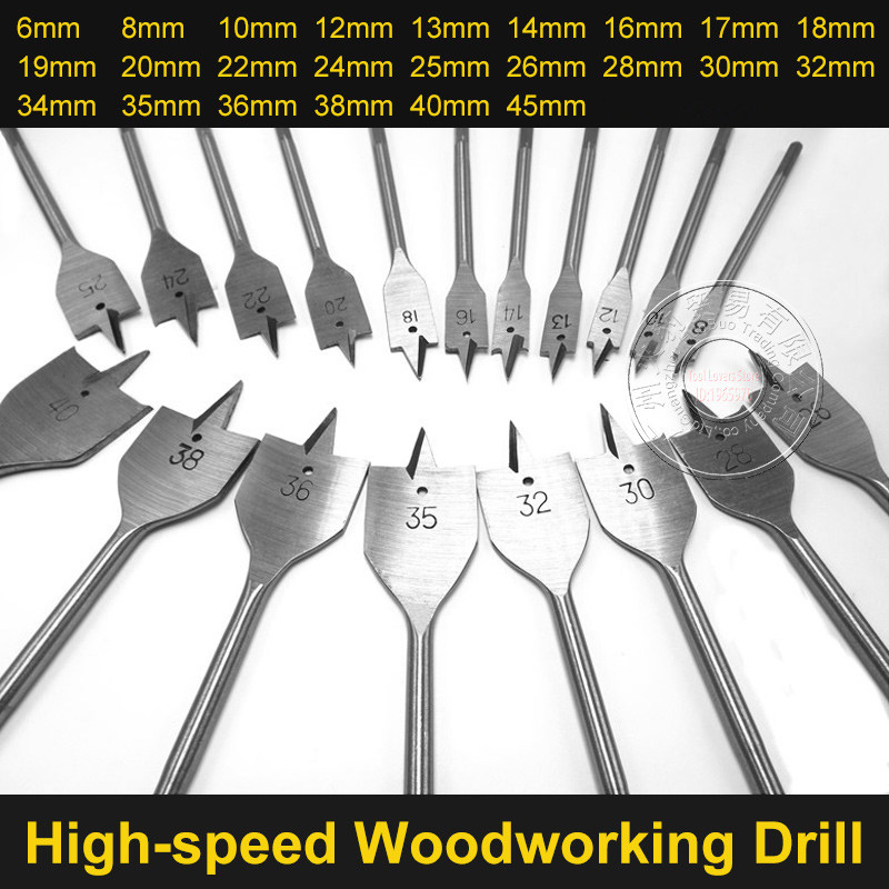 HOEN 6-45mm Flat Drill Long High-carbon Steel Wood Flat Drill Set Woodworking Spade Drill Bits Durable Woodworking Tool Sets