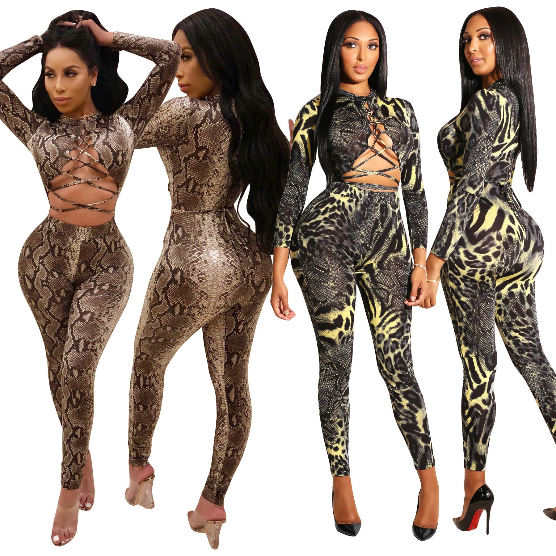 Autumn new Two Piece set Sexy women serpentine print o-neck party Bandage Crop Tops+Long pants 2018 2 pieces set