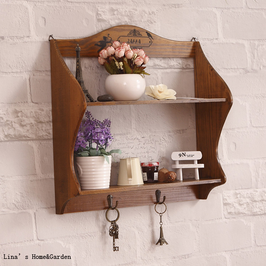 2 Tier 2 Hooks Solid Pine Wood Natural Finish Small Wall Shelf In Storage Holders Amp Racks From
