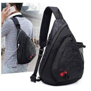 Image 5 - Fengdong עמיד למים בד זכר crossbody תיק קטן שחור הסוואה קלע חזה תיק כתף אחת שקיות לנשים bagpack daypack