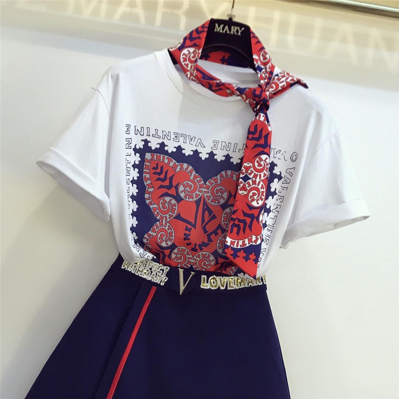 2019 Spring Summer Women 2 Peice Set Fashion Short Sleeve T-shirt + Sequins Letter Mini Skirt Ladies Sexy Skirts Suit Femme Sets