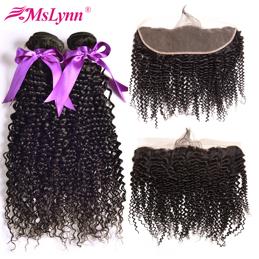 Mslynn Afro Kinky Curly Bundles With Closure Brazilian Hair Weave Bundles With Frontal Human Hair Bundles With Closure Non Remy