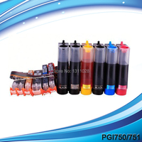 INK WAY PGI 750 CLI 751 ink supply system,6C empty CISS for Canon PGI 750 CLI 751 refillable cartridge MG6370 gray