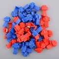 Useful 50Pcs Red Blue Snap On Connector Crimp Wire Splicer Terminal Lock Splice