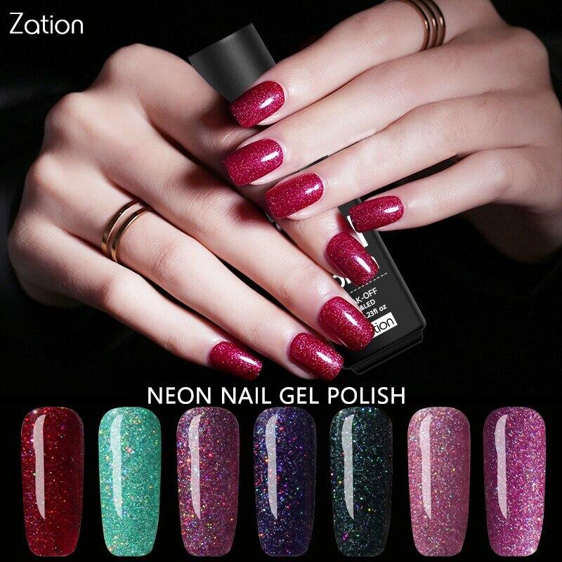 Why Does Neon Nail Polish Chip: Zation Fluorescence Nail Varnish Neon Gel Polish Bling