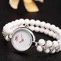 Стерлингового серебра 925 женщины браслет смотреть леди мода белый природные бисер горный хрусталь часы водонепроницаемые 50 м женская платье часы