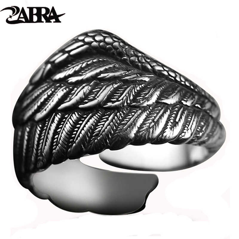 ZABRA ヴィンテージ 925 シルバーメンズリング調節可能なワシの翼羽レトロ黒スチールパンクバイカーマンリングリング女性スターリングシルバージュエリー