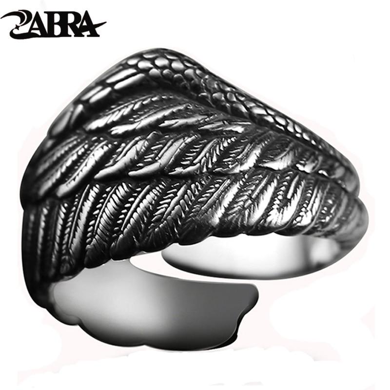 ZABRA Vintage 925 ezüst férfi gyűrű, állítható sas szárnyas toll, retro fekete lábbeli motoros férfi gyűrűk, női ezüst ékszerek