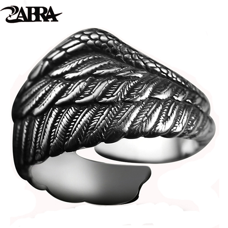 ZABRA Vintage 925 ασημένιο δαχτυλίδι αντρικά ρυθμιζόμενο φτερό αετών φτερό ρετρό μαύρο punk μοτοσικλετών δαχτυλίδια αρραβώνων γυναικεία ασημένια κοσμήματα