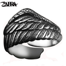 ZABRA Vintage 925 Silver Men Ring Adjustable Eagle Wing Feather Retro Black Punk Biker Man Rings Female Sterling Silver Jewelry
