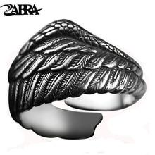 ZABRA Vintage 925 srebrny mężczyźni pierścień regulowany skrzydło orła pióro Retro czarny Punk Biker Man Rings kobieta srebro biżuteria
