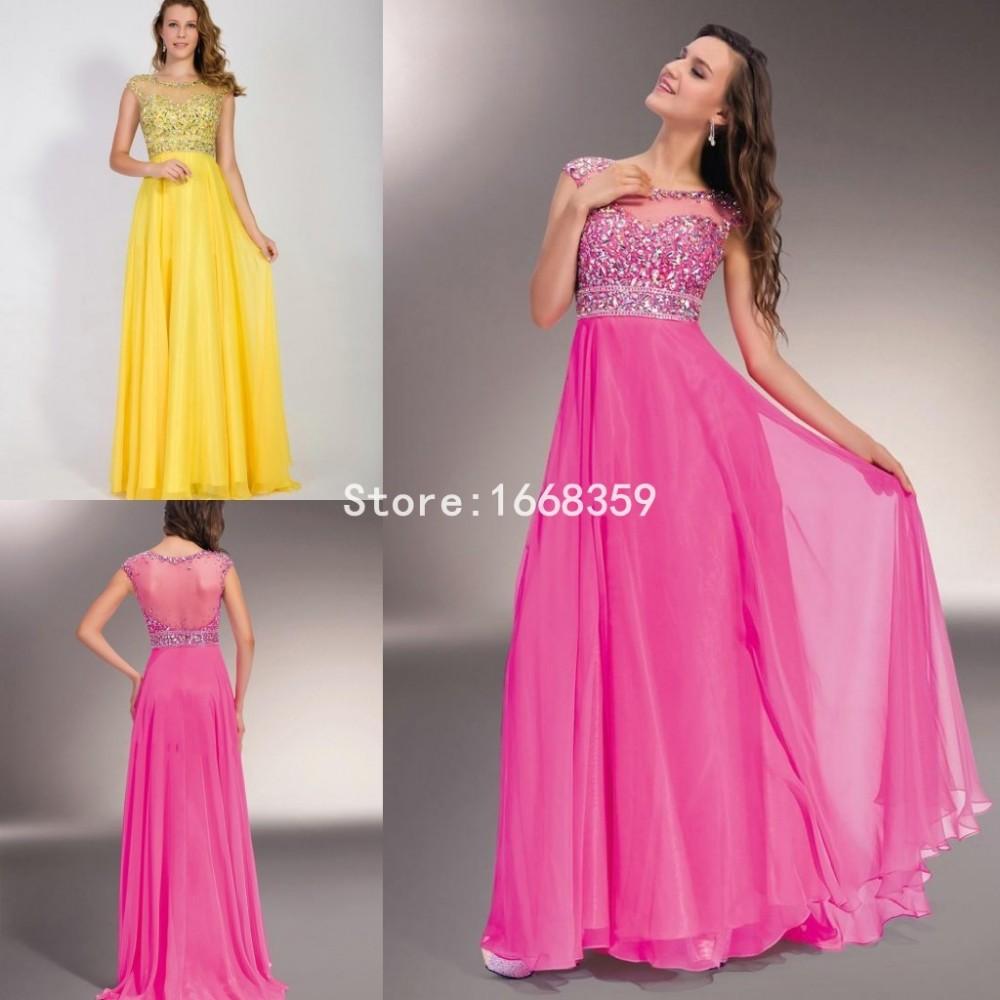 Nueva moda amarillo largo elegante Prom vestidos O cuello sin mangas ...