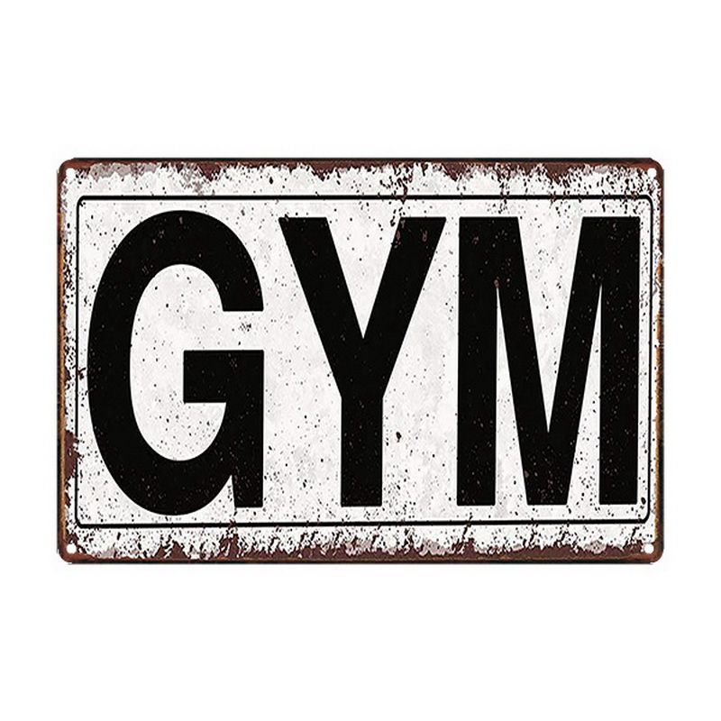 Retro GYM Plaque Metal Sport Signs Painting Fitness Exercise Poster Vintage Wall Art Sticker Decor Notice Photo Display 20x30cm