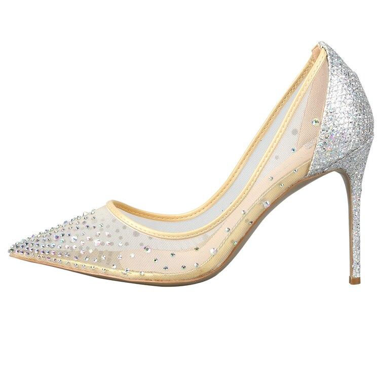 Bling do Cristal De Malha de Ar Superior Rasa Clássico Das Mulheres de Salto Alto Sapatos De Luxo Mulheres Elegantes Sapatos de Festa de Casamento