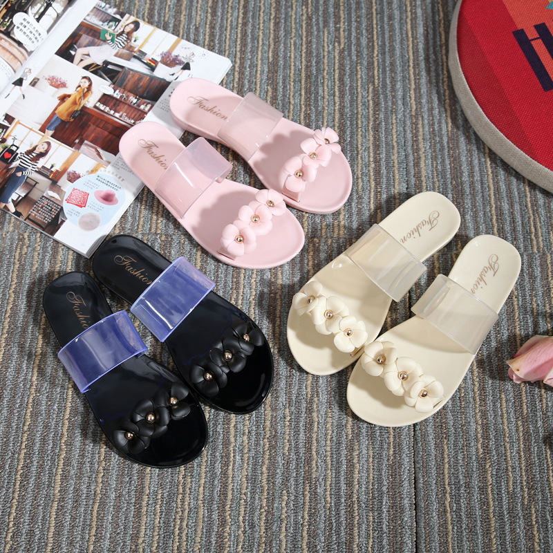 2016 Women Sandals Casual Summer Flat Bottom Slippers Leisure Rubber Jelly Shoes Beach Flip Flops Mujer Crystal Flowers Slides 2016 new color crystal jelly women sandals female women flip flops women slippers beach sandals