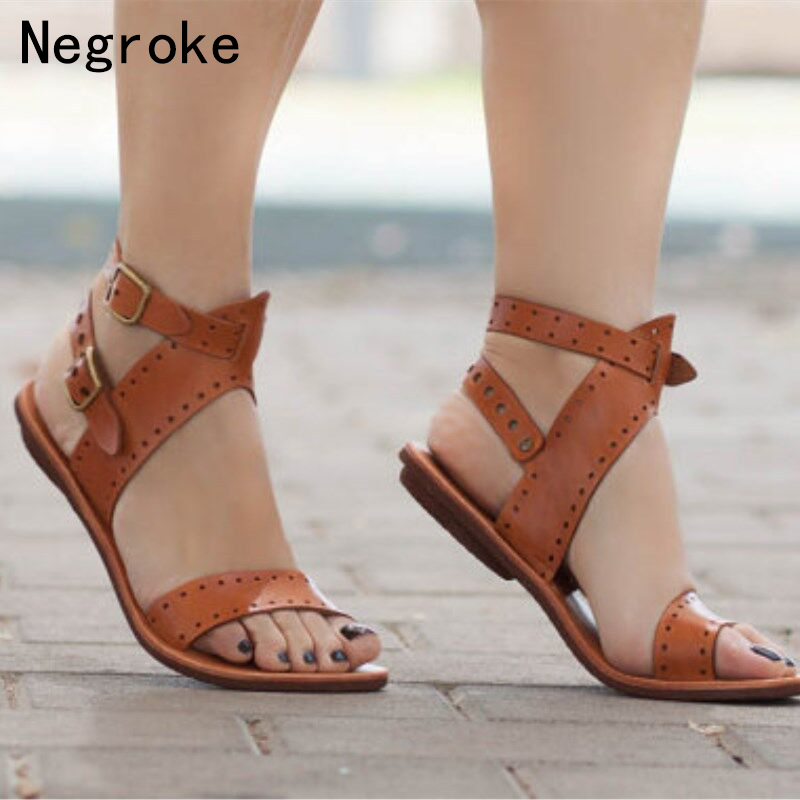 Women Sandals 2019 Flat Gladiator Leather Sandals Summer Shoes Woman Rome Style Double Buckle Casual Beach Sandles Plus Size 43Women Sandals 2019 Flat Gladiator Leather Sandals Summer Shoes Woman Rome Style Double Buckle Casual Beach Sandles Plus Size 43