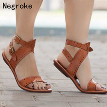 Women Sandals 2019 Flat Gladiator Leather Sandals