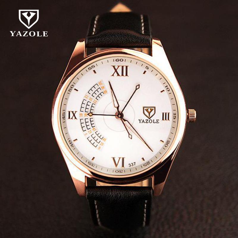 Роскошные оригинальные yazole Для мужчин часы мужские наручные часы подарок кожа кварцевые Круглый циферблат платье Наручные часы чёрный; коричневый 337