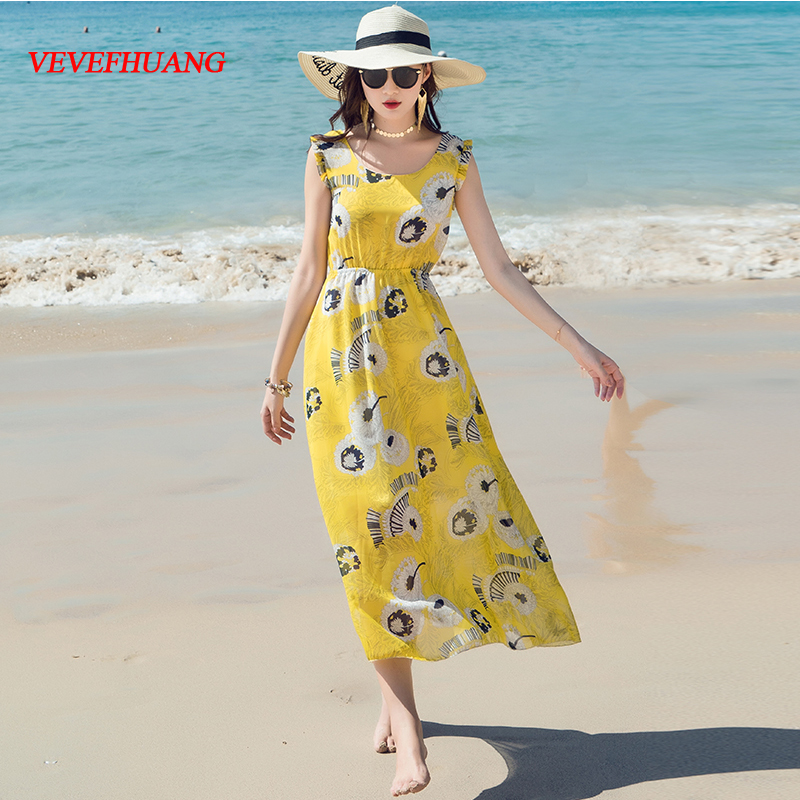 2018 New Bohemian Women Long dress Spaghetti Strap Print Slim Chiffon Sea On Holiday Dresses Yellow Flowers L0809