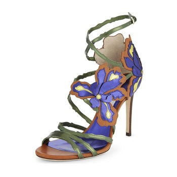 Women's sandals 2019 hot sale large size 21.5-26.5 cm long heels high 12cm Flower bandage roman shoes Summer must have fashion