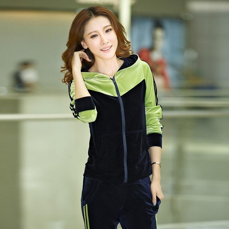 M-7XL survetement femme oversize femmes survêtement 2016 d'hiver femmes vêtements ensemble occasionnel patchwork Or Velours sportwear femmes
