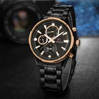 Luxury Stainless Steel Men Watch Three Eyes Display Business Wristwatch Quartz Adjustable Men Large Watches Sport