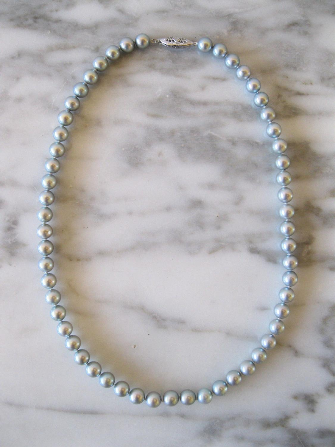 charming 9-10mm tahitian silver grey pearl necklace 18inch 925s
