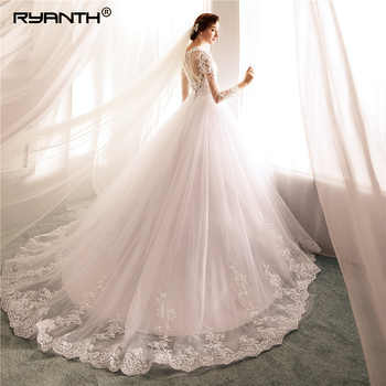 Ryanth Robe De Mariee 2018 New Long Sleeve Ball Gown O Neck Lace Wedding Dresses See Through Back Bridal Gowns Vestido de Noiva