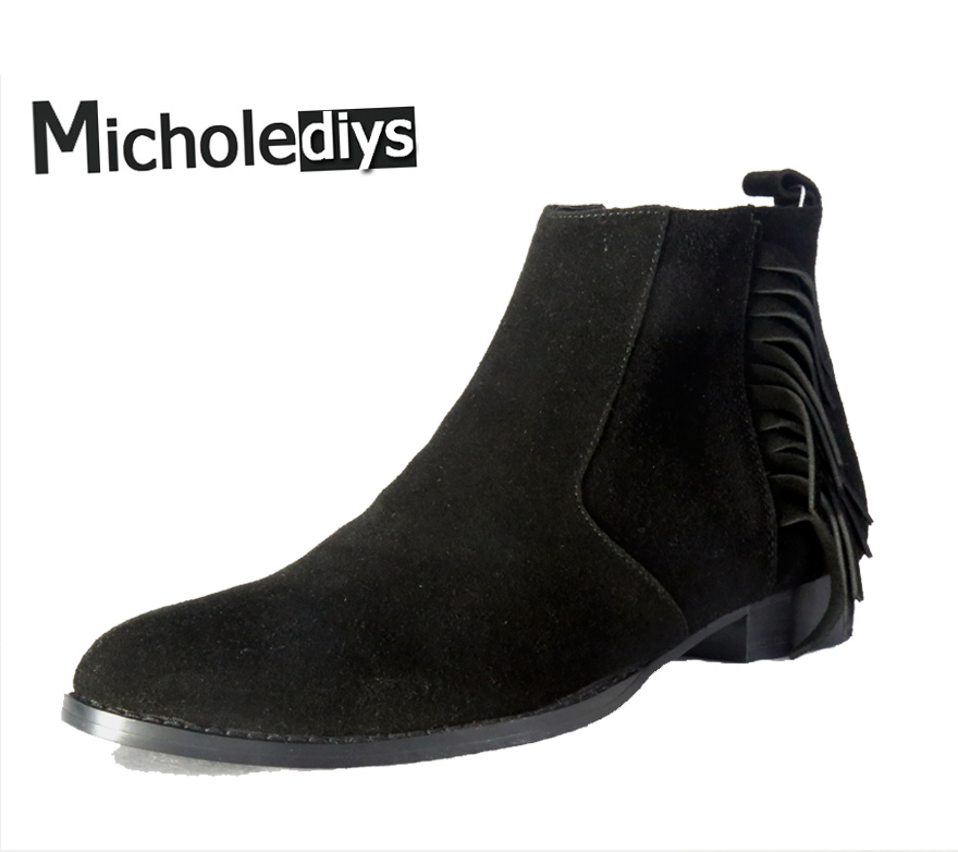 Micholediys Handamde New Arrival Black suede Chelsea boots Luxury Brand  Tassels Shoes Mens Wedding Dress and Party Shoes