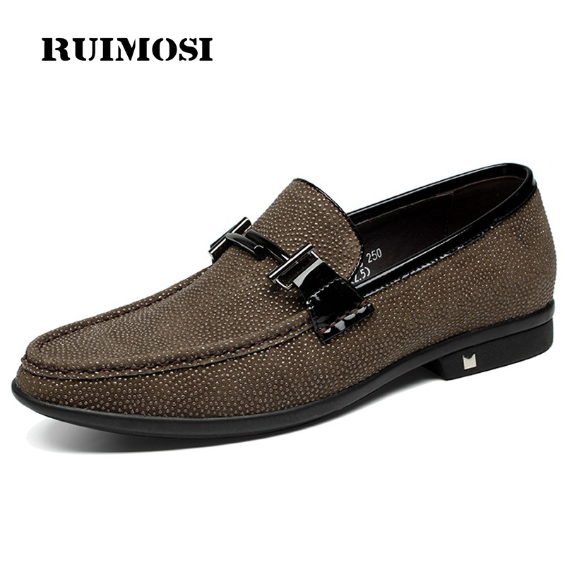 RUIMOSI Pointed Toe Height Increasing Man Casual Shoes Genuine Leather Luxury Loafers Formal Wedding Party Men's Boat Flats HJ22