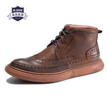купить Genuine Leather British reto boots men's Chelsea boots men shoes all-match cowhide breathable sneaker male bullock дешево