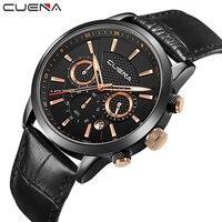 CUENA Brand Fashion Casual Watches Men Watch Genuine Leather Relojes Waterproof Quartz Wristwatches Man Clock Relogio